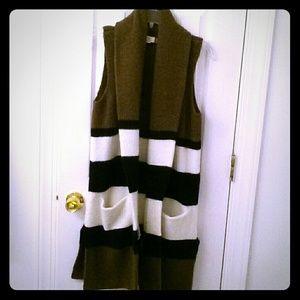 Loft long vest with pockets. Never worn!